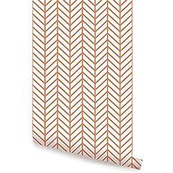 Herringbone Line Wallpaper - Orange - 2 ft x 4 ft - Single - by Simple Shapes