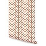 Herringbone Line Wallpaper - Orange - 2 ft x 9 ft - 6pk - by Simple Shapes