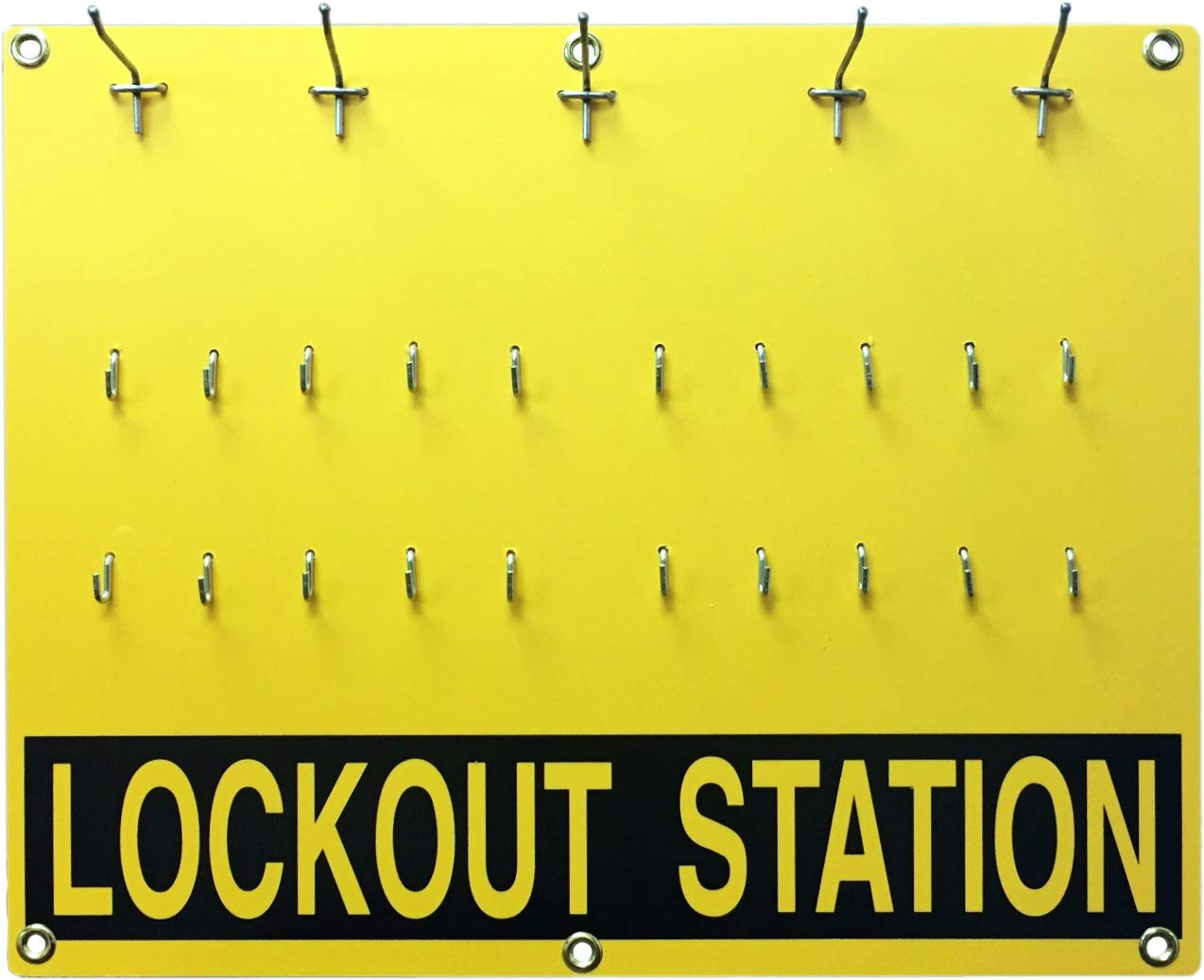 LEM Products, Inc, Lockout Tagout Station #LLOS11, unfilled. 20 Lock Capacity. 1 Board per Package, Includes Hooks and Wall spacers. Does not Include Locks or Tags.