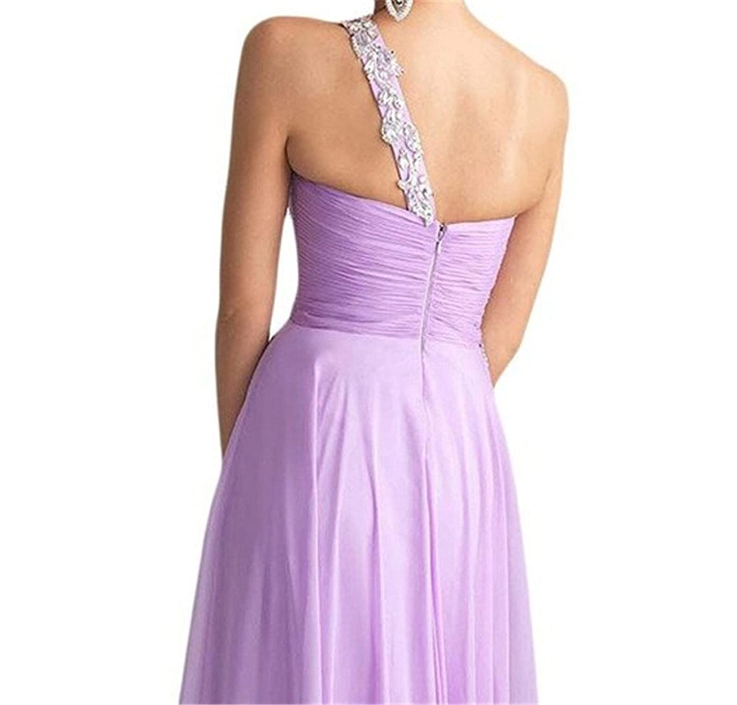 AngelDragon One-Shoulder Floral Embellished Bridesmaid Party Dress Ball Gown