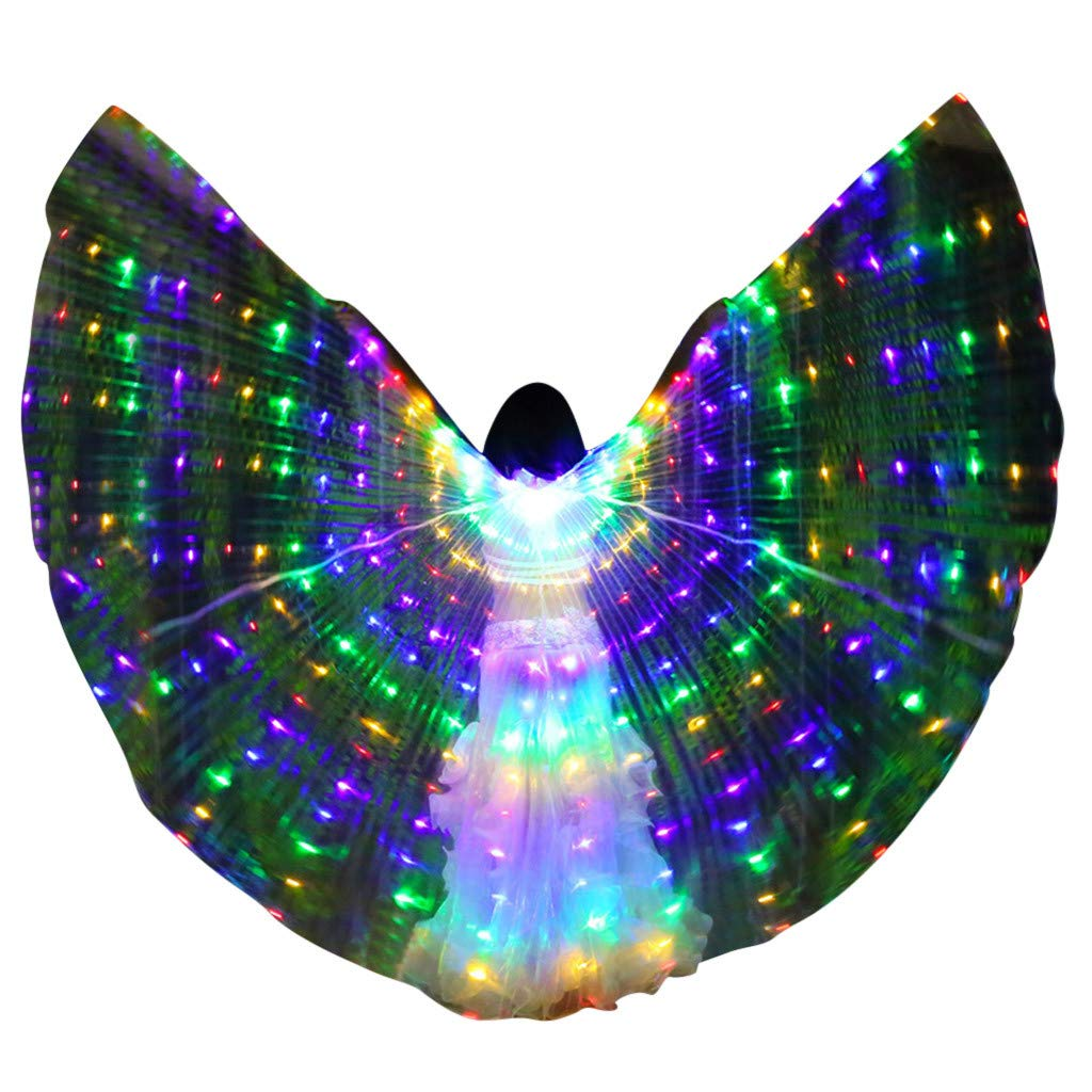 Cegduyi Women LED Belly Dance Wings Colorful Wings with Telescopic Stick Performance Clothing (Bule, 1)