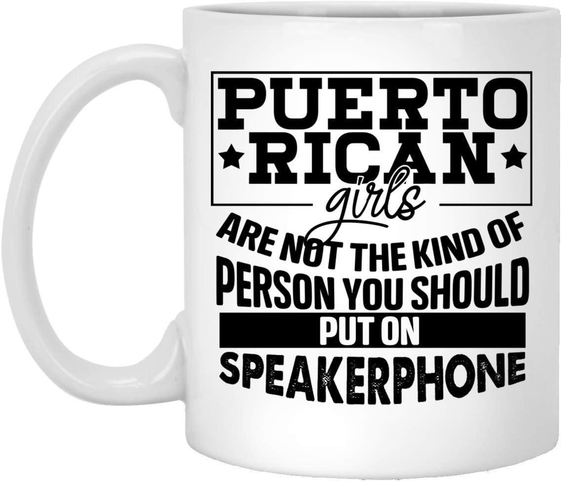 N\A Las Chicas puertorriqueñas no Son el Tipo de Persona Taza de café de cerámica - Jarra de Cerveza - Botella de Agua, Talla única, 11 oz. Taza Blanca/Blanca