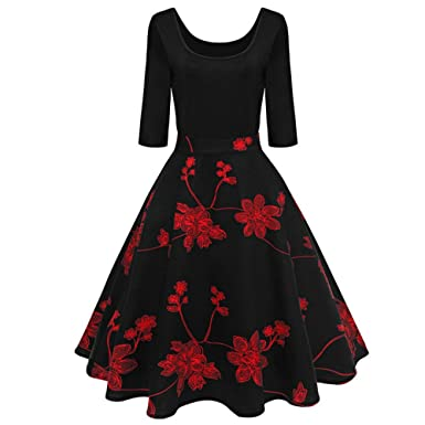 MDOUWoo Vintage Dress Women 3/4 Sleeve Autumn Winter Rockabilly Vestidos Robe 50s 60s Big