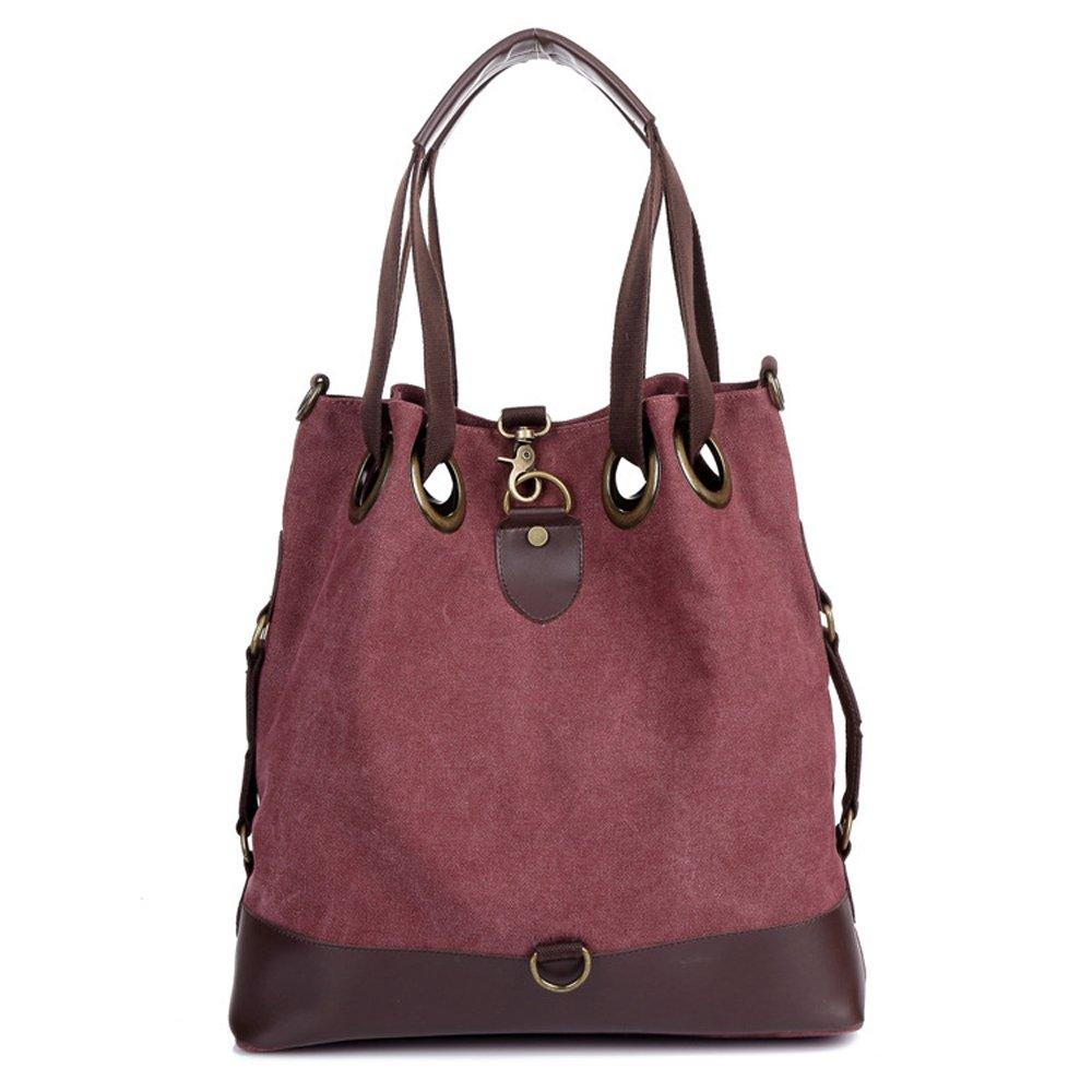 Retro Women Tote Bag Canvas Bucket Bag Large (purplish red)