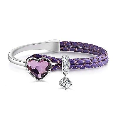 Le Premium® Bracelet en Cuir tressé avec Cristaux en Forme de Coeur de  Swarovski - 9d9d5d87c103