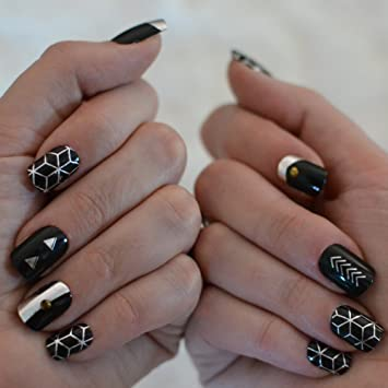 Amazon Geometric Nail Art Set 10 Sheets Of Metallic Gold
