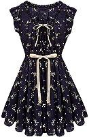 Eyekepper Vintage Wapiti Printed Sleeveless Chiffon Tunic Tiny Dress
