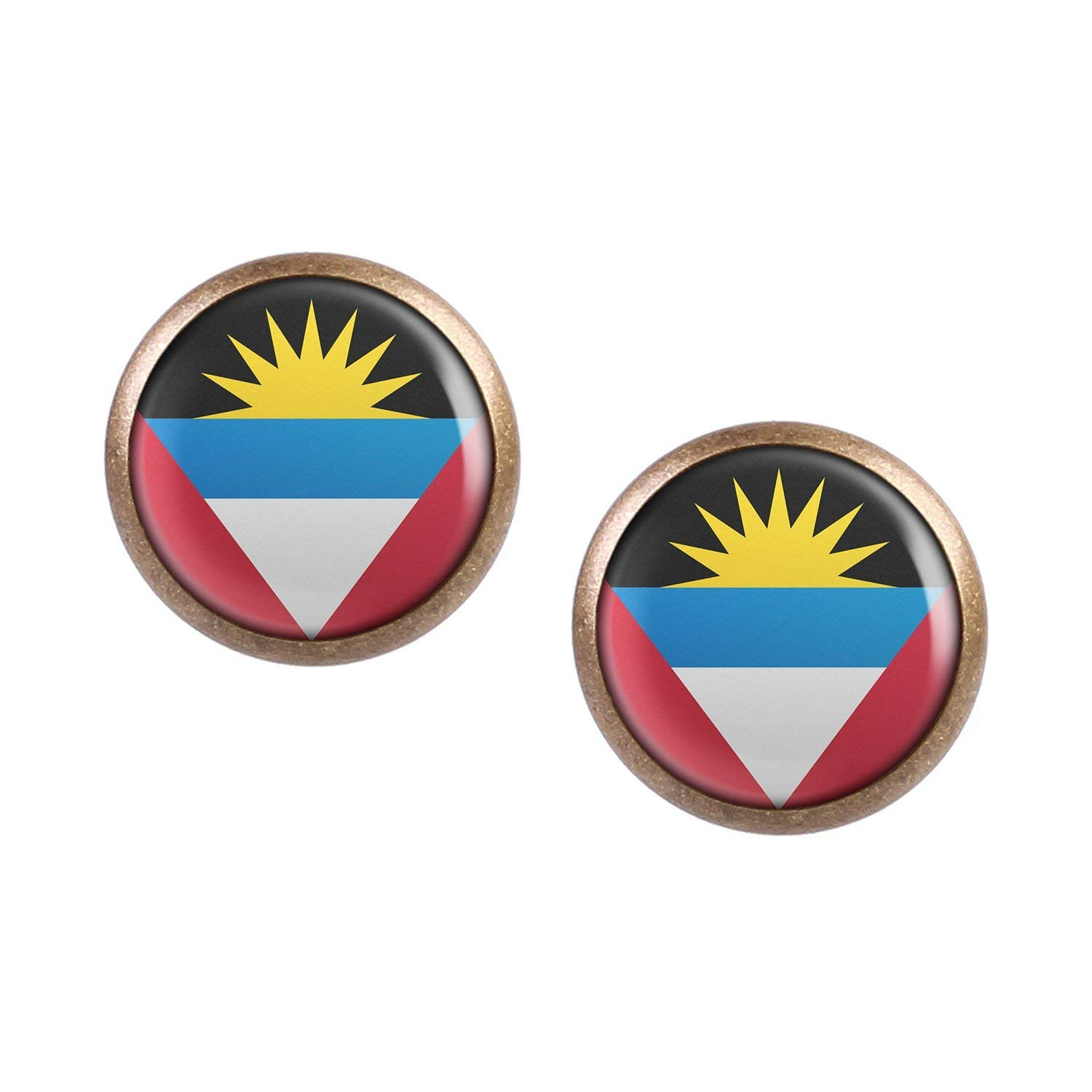 Stud Earring Pair with Cabochon Picture Antigua and Barbuda Saint Johns Flag bronze different sizes