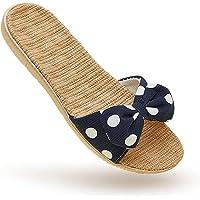 Linen Bow Japanese Style Silent Slippers for Women