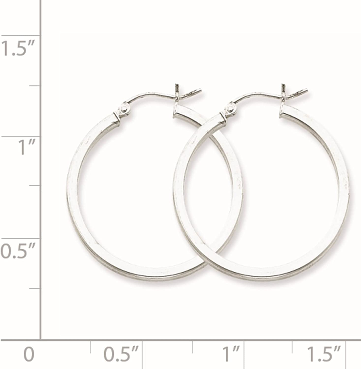 925 Sterling Silver Rhodium-plated Polished Square Tube Hoop Earrings 2mm x 31mm