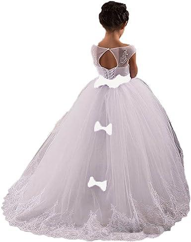 Amazon Com Cocogirls Cute Children Flower Girls Wedding Dresses Kids First Communion Gown Clothing