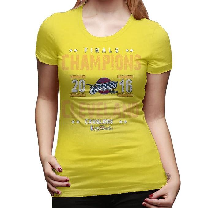 Cleveland Cavaliers 2016 finales de la NBA Champion camiseta de algodón amarillo de la mujer: Amazon.es: Ropa y accesorios