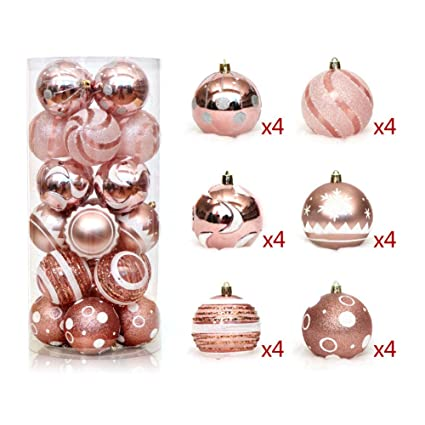 24 pcs christmas balls shatterproof brightly painted pendant for xmas tree decoration transparent rose gold - Rose Gold Christmas Tree Decorations