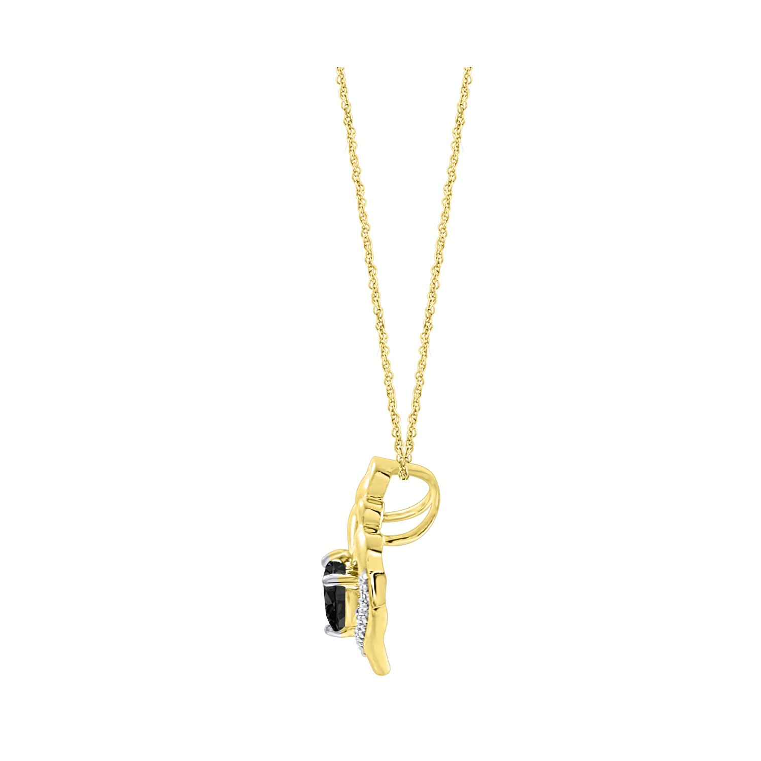 DiscountHouse4you Mother Child Black Cubic Zirconia Pendant Necklace for Mother 14k Yellow Gold Plated