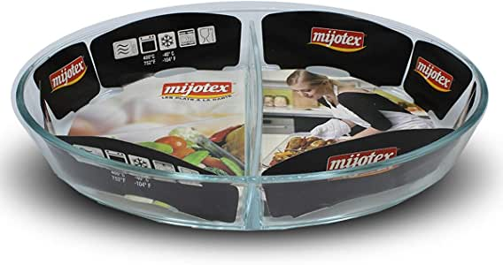 CC BIN SHIHON Glass Heat Resistant Oval Serving Food Plate Divided 2-Sections - Clear