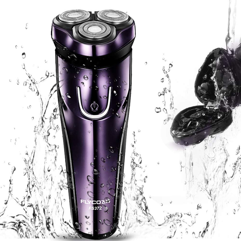 Electric Razor for Men, FLYCO Wet Dry Mens Razors for Shaving Electric Cordless With Pop-up Trimmer, Rotary Razors Electric Shavers for Men Waterproof Rechargeable Purple