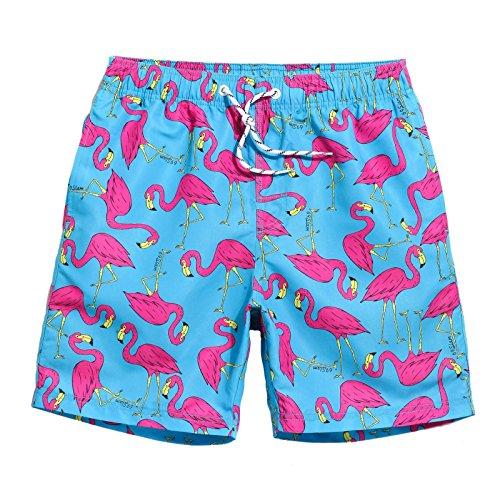 MaaMgic Mens Quick Dry Flamingo Swim Trunks With Mesh Lining Long