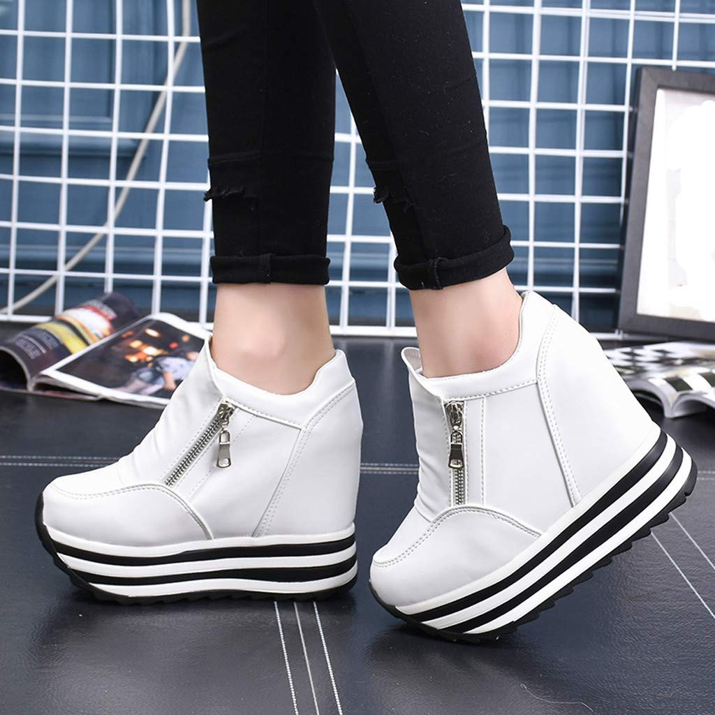 Claystyle Womens Increased Within The Higher Flat Shoes Side Zipper Casual High Heels Wedges Platform Sneaker(White,US: 7) by Claystyle Shoes (Image #5)