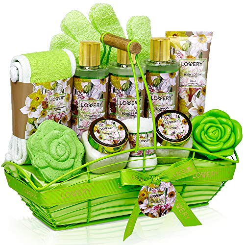 Bath and Body Gift Basket For Women and Men – Magnolia and Jasmine Home Spa Set, Includes Fragrant Lotions, Bath Bomb, Towel, Shower Gloves, Green Wired Bread Basket and More - 13 Piece Set (Soap Bath Scented)
