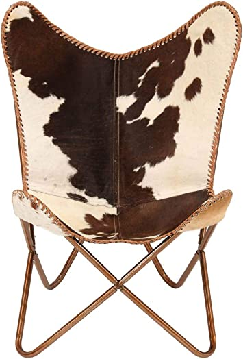 Editors' Choice: Tidyard Vintage Butterfly Chair Handmade Leather Chair Genuine Goat Leather Brown and White