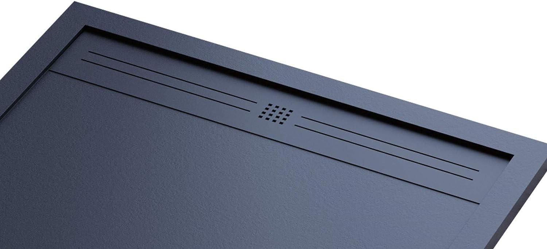 Plato de ducha negro, de lujo y con diseño moderno, modelo Ibiza, de mármol y resina con efecto piedra pizarra, gelcoat, slim 3 cm, negro: Amazon.es: Bricolaje y herramientas