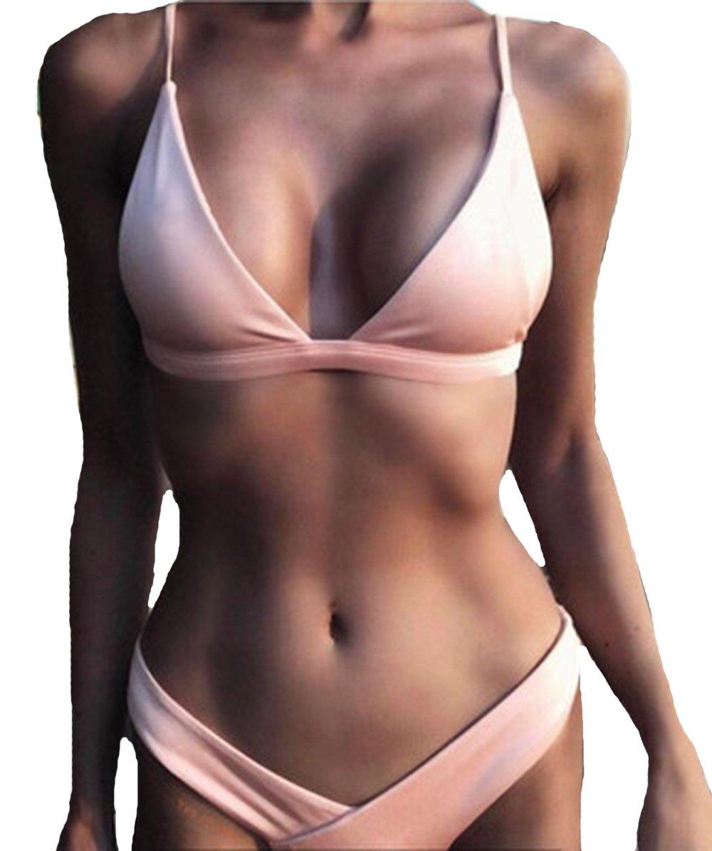 Sexy Pink Bikini Swimsuits Criss Cross Bandage Triangle Swimwear Summer Beach Bathing Suit