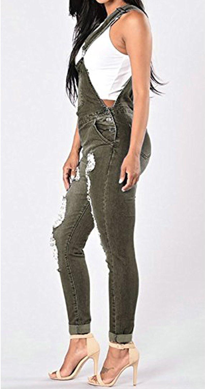 Womens Ripped Bib Overalls Classic Distressed Skinny Denim Jeans Pants