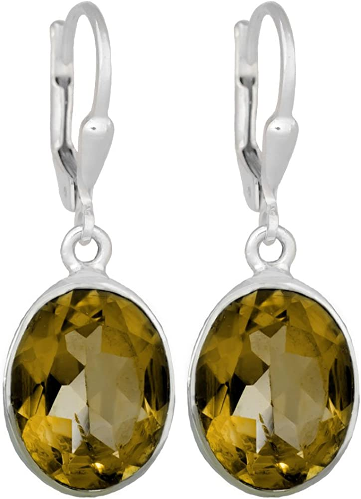 I de Be, citrino facetado 10x 14mm Pendientes de piedras preciosas ovalada 925plata, longitud total 3,3cmim funda de regalo, 391522g KB