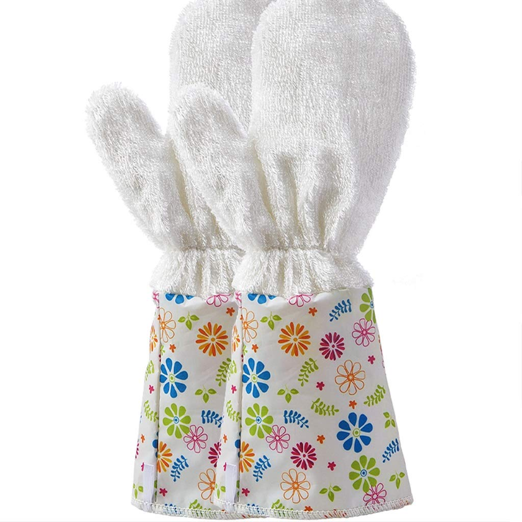 LQQGXL Protective Gloves Waterproof Gloves. Plus Velvet Housekeeping Cleaning Gloves (Color : Green Cuffs)