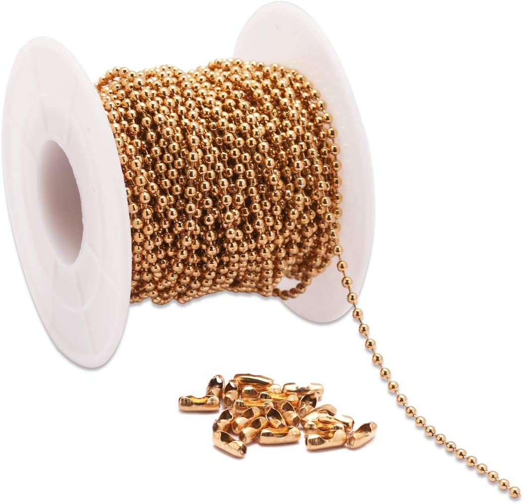 Gold Plated Ball Chain Connectors 2mm Chain