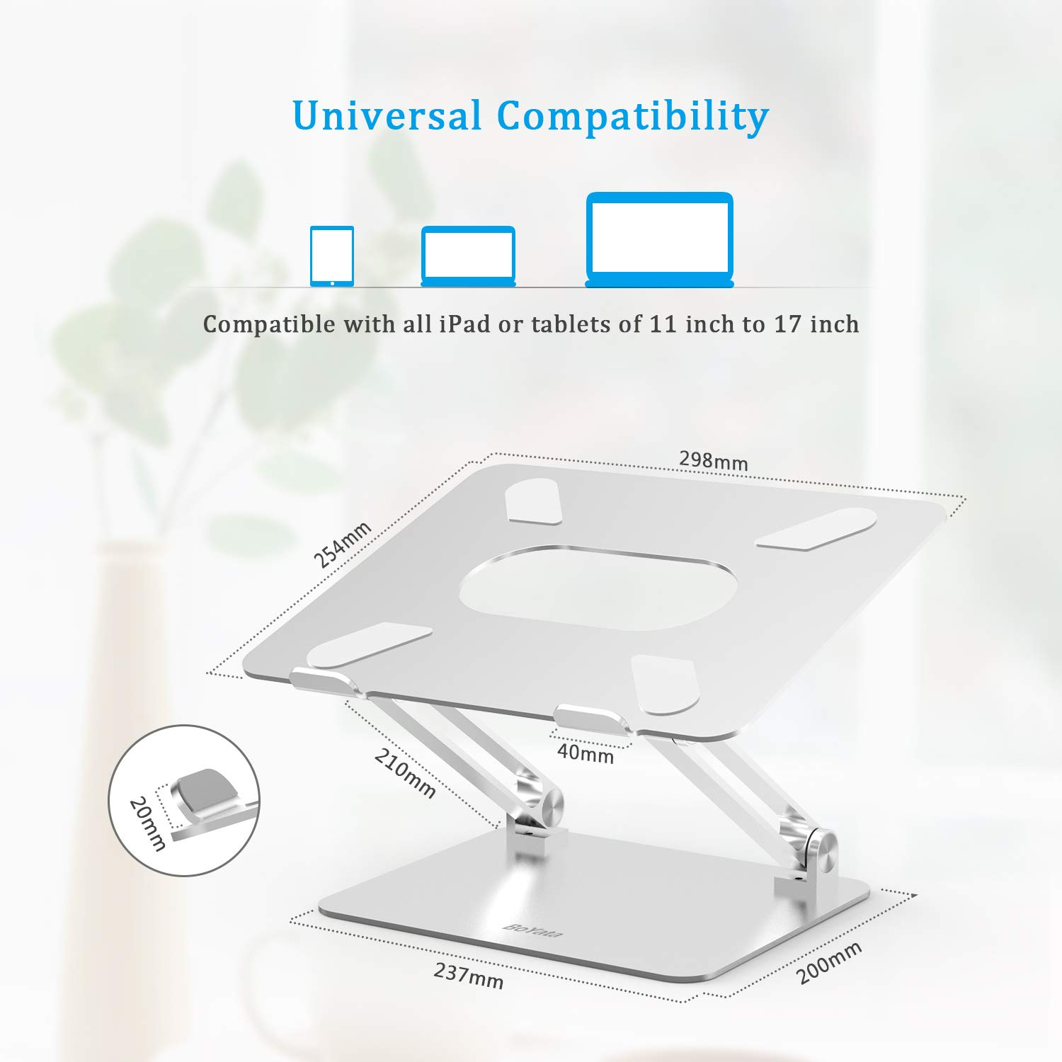 Laptop Stand, Boyata Laptop Holder, Multi-Angle Stand with Heat-Vent to Elevate Laptop, Adjustable Notebook Sand for Laptop (4-17 inch) Compatible for MacBook Pro/Air, Surface Laptop and so on by Boyata (Image #5)