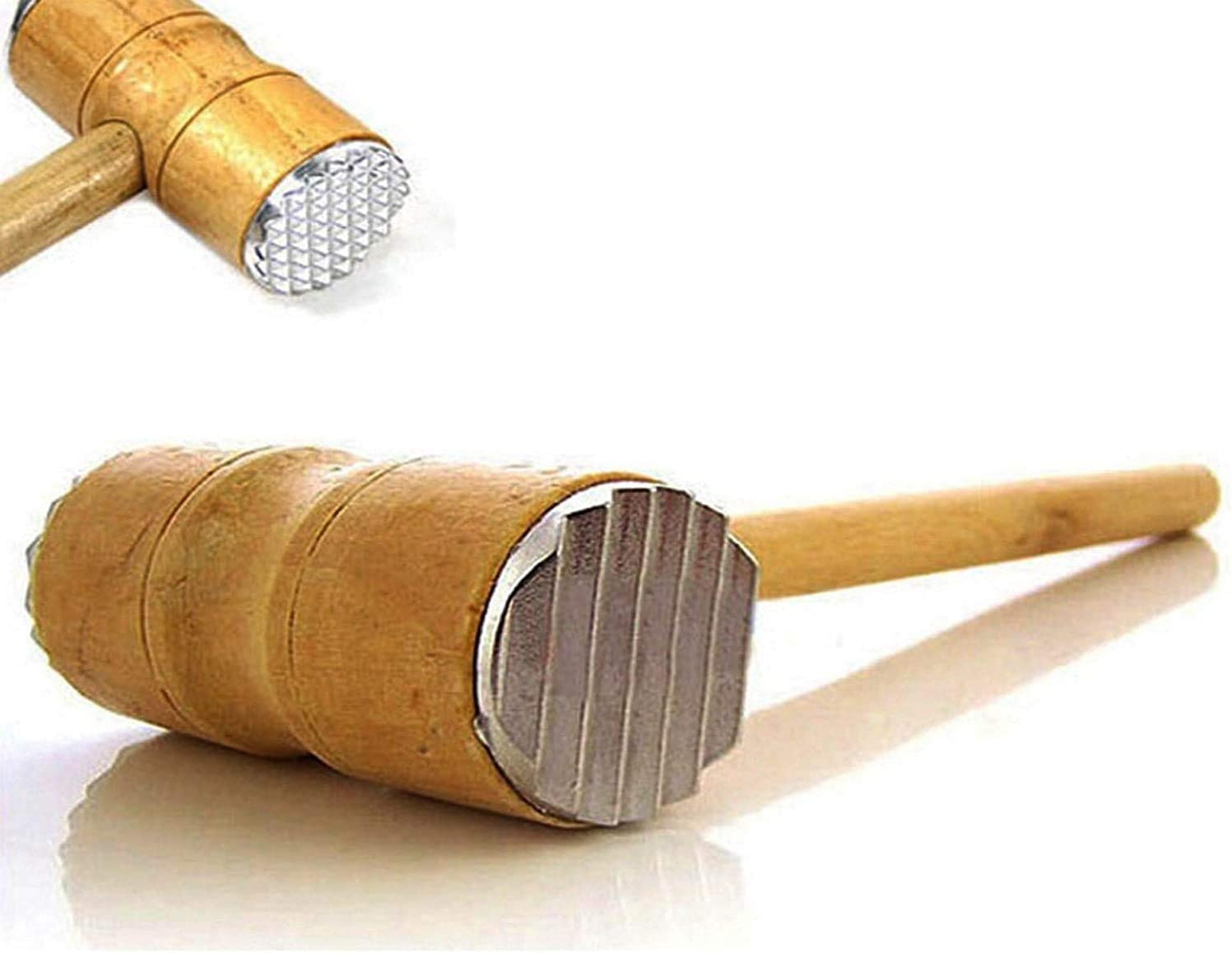 Meat Tenderizer Beef Hammer, Wooden Handle Meat Mallet Tool For Kitchen & BBQ, Suitable for Chicken, Steak, Fish and Pork