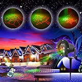 GAXmi Outdoor Waterproof Red Green Light 8 Dynamic Dispersive Patterns Remote Landscape Spotlight for Garden Yard Christmas
