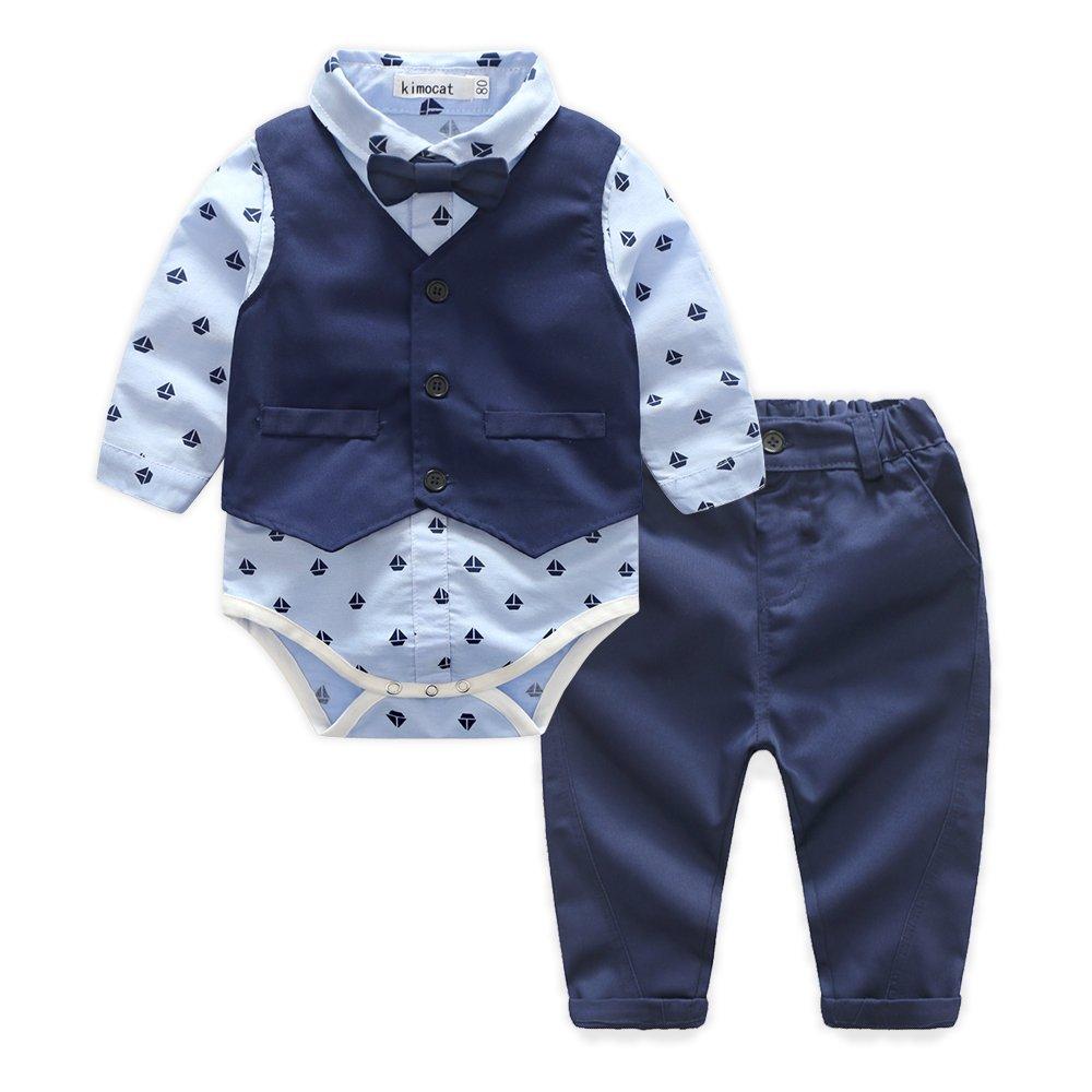 Baby Blue Suits Set Long Sleeve Casual Onesie Dress Shirts+Vest+BowTie+Pants Outfits(6-12months)