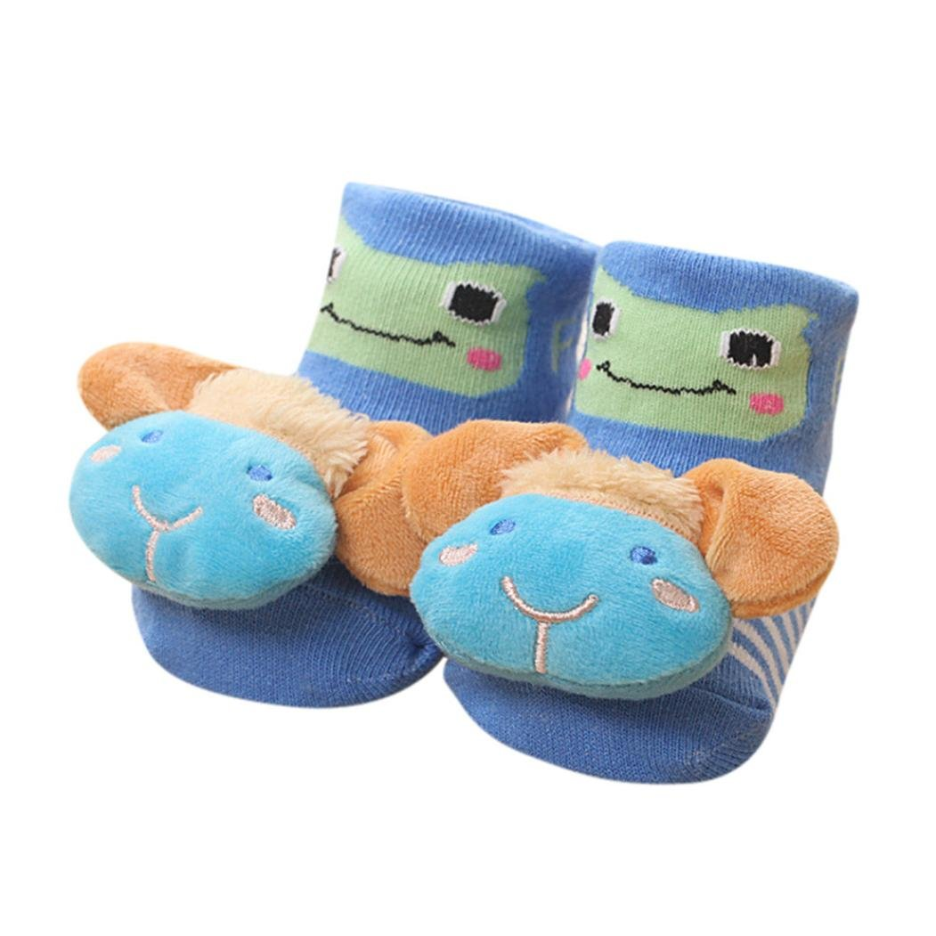 Auwer Cartoon Newborn Baby Girls Boys Anti-Slip Socks Slipper Bell Shoes Boots Prewalker Socks