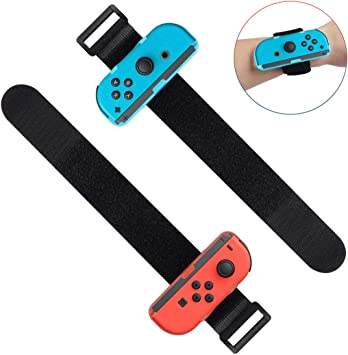 LANMU - Muñequeras compatibles con Nintendo Switch Joy-Cons Controller, correa ajustable para Just Dance Game 2019 (azul y rojo): Amazon.es: Electrónica
