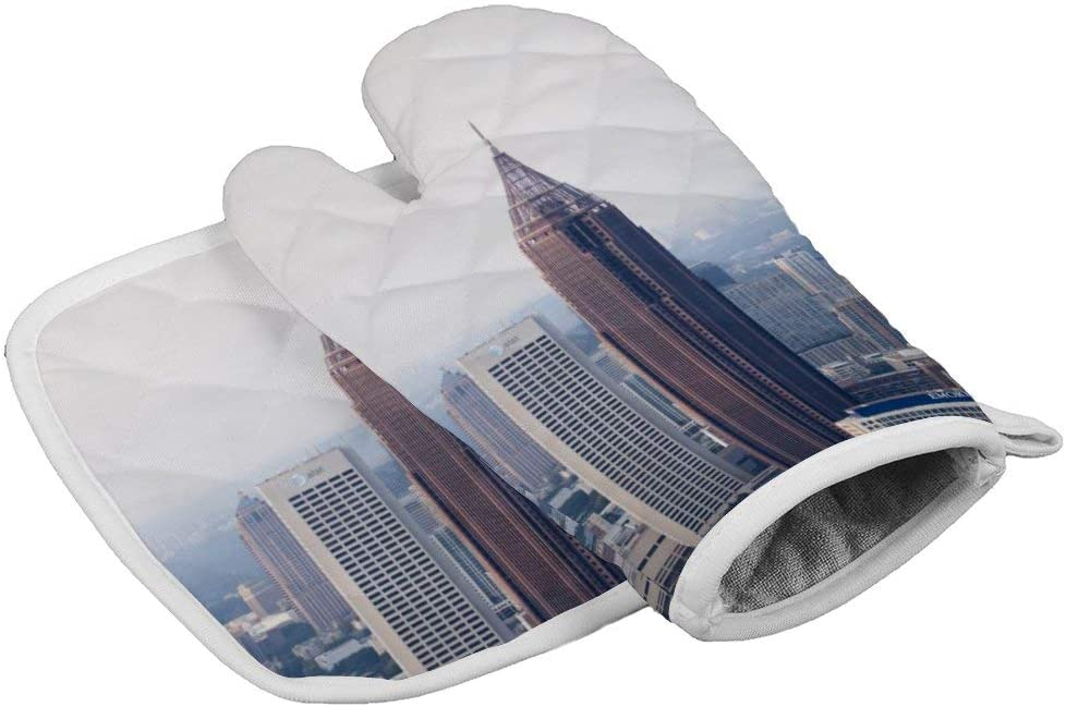 WE-ORANGE-Party Balloons New York Empire State Building (2) Heat Resistant Glove Insulation Hot Pan Mat Kitchen Cooking Tool for Microwave Oven Baking Barbeque Men Women 2Pcs Set