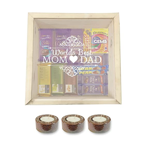 YaYa CafeTM Birthday Gifts For Parents Chocolate Gift Hampers Worlds Best Mom Dad With 3
