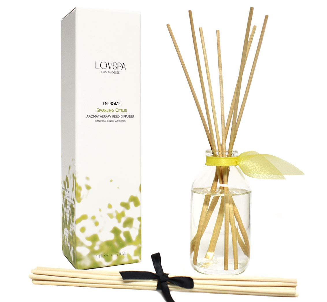 LOVSPA Sparkling Citrus Scented Sticks Reed Diffuser Set - Energize - A Spring Scent of Bright Lemons & Fresh Greens - Citrus, Sage & Sandalwood - Best Birthday Gift Idea!