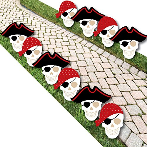 Beware of Pirates - Pirate Skulls Lawn Decorations - Outdoor Pirate Birthday Party Yard Decorations - 10 Piece ()