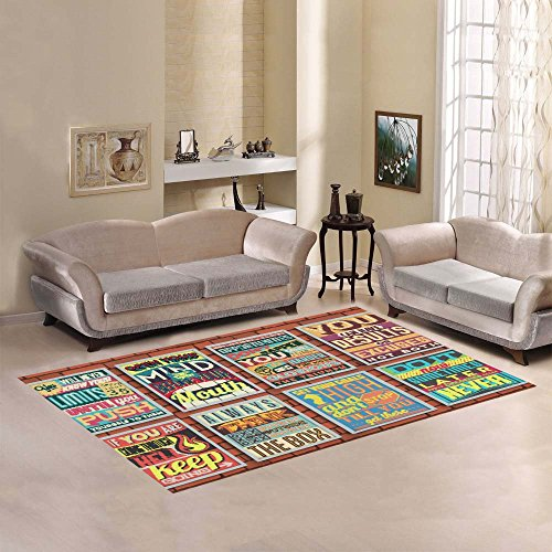Love Nature Sweet Home Modern Collection Custom Retro Vintage Motivational Quotes Area Rug 7'x5' Indoor Soft Carpet