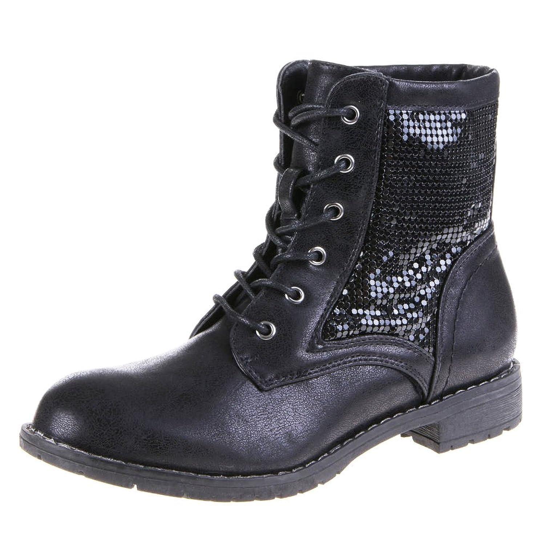 Pailletten Bootie Damen Stiefelette in Schwarz zum Schnüren mit Blockabsatz  Damenschuhe V1588 (40): Amazon.de: Schuhe & Handtaschen