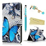 Huawei Y6 Scale Wallet Case - Mavis's Diary Premium PU Leather with Magnetic Clasp and Card Holders Flip Cover for Huawei Y6 Scale with Butterfly Dust Plug & Bling Crystal Pen (Blue Butterfly)