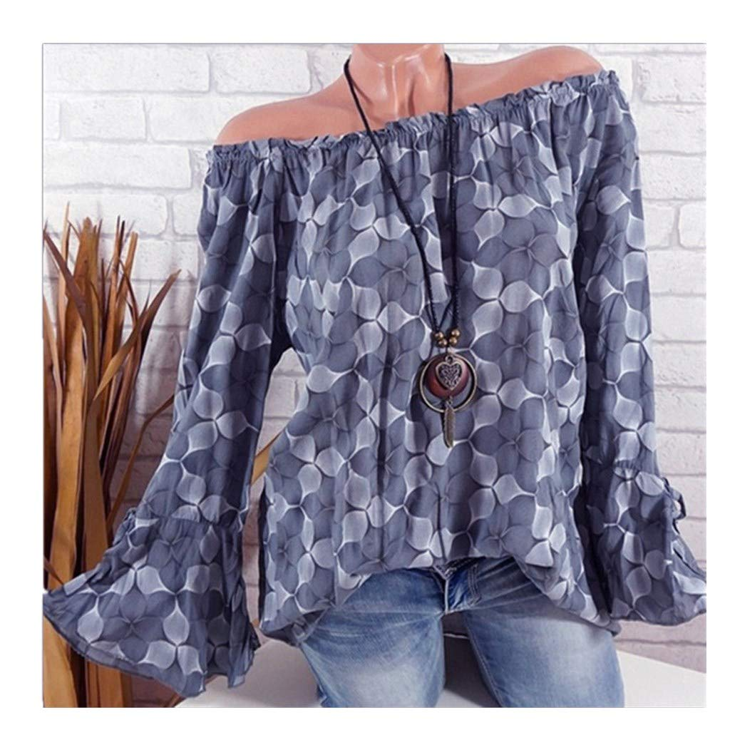 Blouse For Women-Clearance Sale, Farjing Slash Neck Printing Horn Long Sleeves Plus Size Tops Loose Blouse(US:6/M,Gray )