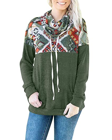 feb4efdab9fdf Image Unavailable. Image not available for. Color  Flawerwumen Women Plus  Size Cowl Neck Sweatshirt Long Sleeve Aztec Floral Printed Pullover ...