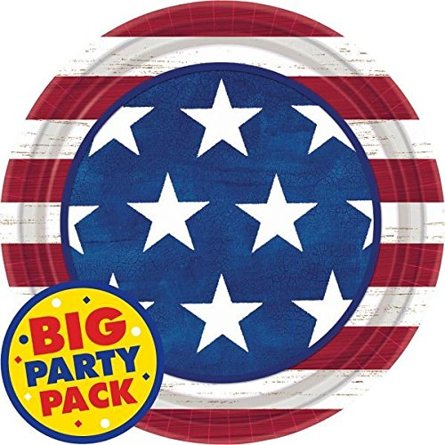 "Americana Lunch Plates Patriotic 4th of July Party Disposable Tableware, Paper, Round, 9"", Pack of 50. hot sale"