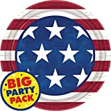 """Americana Lunch Plates Patriotic 4th of July Party Disposable Tableware, Paper, Round, 9"""", Pack of 50."""
