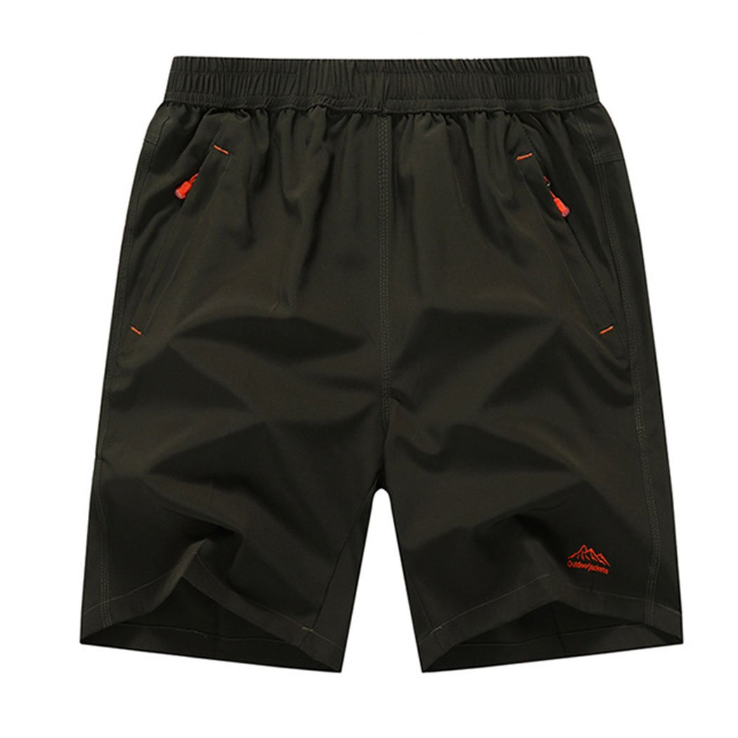 Modern Fantasy Mens Elastic Rib Nylon Waist Shorts with Zipper Pocket Big Size
