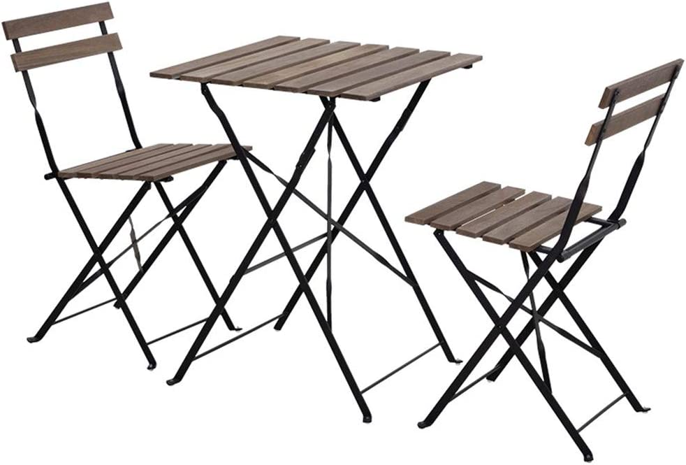 Aottop 3 Pieces Metal Folding Patio Bistro Set, 2 Chairs and 1 Table, Patio Furniture Set, Steel Frame Outdoor Indoor Foldable Table and Chairs for Backyard Garden