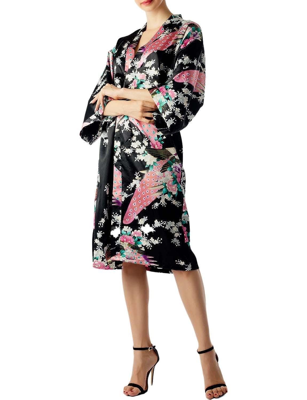 iB-iP Donna Stile dei Kimono Giapponesi Fiore Moda Pavone E Pr Midi Accappatoio IL10KQ1612AA